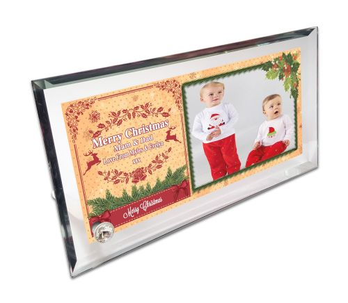 Personalised Merry Christmas Crystal Photo Frame